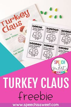 Turkey Claus is a wonderful Christmas themed book for speech-language therapy! This is a great book to address a variety of speech therapy goals such as problem solving, comparing/contrasting, and sequencing! Check out this blog post to scoop up a free story retelling booklet! Great for December speech therapy or a Christmas theme! | Speech is Sweet