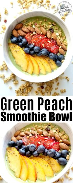 Green Smoothie Bowl - This green peach smoothie bowl recipe is jam-packed with nutrients and it's actually really filling! Healthy Recipes On A Budget, Healthy Snacks, Vegetarian Recipes, Healthy Eats, Cheap Clean Eating, Clean Eating Snacks, Crockpot Recipes, Cooking Recipes, Casserole Recipes