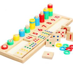 Baby Toys Montessori Wooden Toys Educational Blocks Baby Early Learning Teaching Set Math Toy Shapes Cognition Birthday Gift