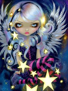 Angel of Starlight lowbrow galaxy fairy art print by Jasmine Becket-Griffith 8x10. $13.99, via Etsy.