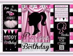 Printable Chip Bags Treat Bags Party Kit, Party Packs, Barbie Birthday Party Games, Vintage Barbie Party, Diy Bags Tutorial, Kids Spa Party, Chip Bags, Templates Printable Free, Party Favor Bags