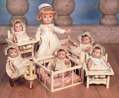 Theriaults Antique Doll Auctions - Wonderful Set of American Composition Dionne Quintuplets and Nurse by Alexander, circa 1935