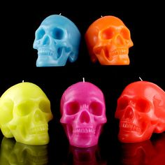 colorful skull candles