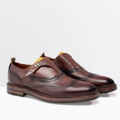 ZARA Man BNWT Brown Leather Buckle Monk Shoe Leather Lining 5609/302 RRP £ 89.99
