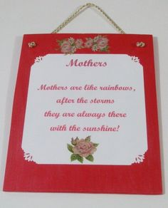 Mothers Wall Decor Mothers Day Poems Mom Mum by mareestreasures