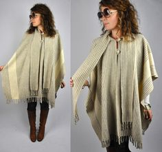 Vintage Oversized Poncho Cape with SCARF and by ItaLaVintage