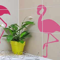 A popular flamingo design vinyl wall decal that is sure to make your home feel like a tropical paradise. Tropical Bathroom, Tropical Decor, Ivy Plants, Small Plants, Budget Bathroom, Bathroom Wall Decor, Window Decals, Vinyl Wall Decals, Vinyl Decor