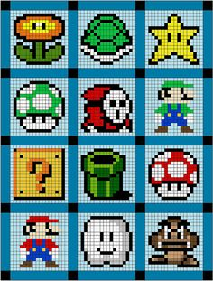 Super Mario quilt or cross stitch patterns! Hama Beads Design, Hama Beads Patterns, Beading Patterns, Knitting Patterns, Knitting Charts, Loom Patterns, Crochet Patterns, Cross Stitching, Cross Stitch Embroidery