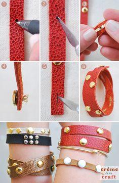 Nos ha encantado esta idea para hacer pulseras muy molonas con cuero y tachas o tachuelas #diy #handmade #manualidades #crafts