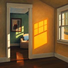 Paintings of absence and melancholy (I) – Chairs and windows by Jim Holland Painting Inspiration, Art Inspo, Edward Hopper Paintings, Posca Art, Green Rooms, Oeuvre D'art, Cool Art, Concept Art, Art Photography