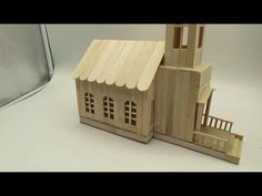 How To Make A Popsicle Stick Church - Popsicle Stick House Popsicle House, Popsicle Stick Houses, Popsicle Stick Crafts, Craft Stick Crafts, Craft Sticks, Fun Crafts, Ice Cream Stick Craft, Homemade Bird Houses, Diy Teepee