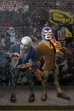 """I worked on this project inspired by two of the most iconic characters in the Mexican Pop culture. """"El Santo"""" and """"Blue Demon"""", Lucha Libre idols. Based on a screenshot from one of their movies (Santo y Blue Demon contra el doctor Blue Demon, Mexican Wrestler, Gas Monkey, Demon Art, Wwe Wallpapers, 3d Artwork, Airbrush Art, Super Hero Costumes, Iconic Characters"""