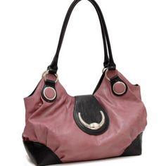 Women fashion toggle clasp shoulder bag handbag plum