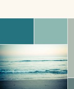 Teal, aqua (could use turquoise) and gray color pallet.  Great for a wedding.