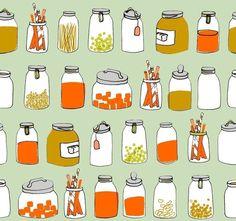 ORGANIC kitchen jars fabric