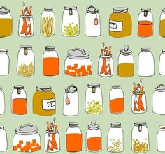 ORGANIC kitchen jars fabric