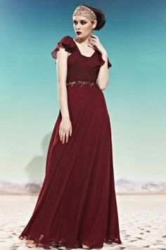 Burgundy Square Neck Flutter Sleeve Ruched Beaded Long Chiffon Prom Dress