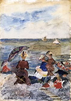 """""""Figures on the Beach,"""" c. 1892-1894, by Maurice Prendergast (American, 1858-1924)"""