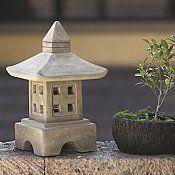 Stone Japanese Garden Lantern Ash Oki-gata for sale by Oriental Furnishings