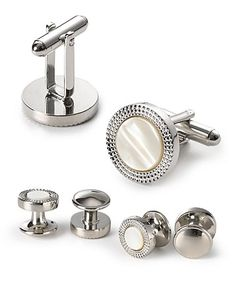 The Men's Store at Bloomingdale's Polished Silver-Tone White Circle Cufflinks | Bloomingdale's