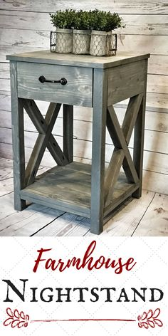 Absolutely love this nightstand! This would fit in perfect for my farmhouse style bedroom. #farmhouse #ad #rustic #farmhousetyle #fixerupper