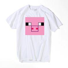 90d2a8998 Game MINECRAFT T Shirt Men Summer Minecraft pink PIG Animal T-shirt Short  Sleeve Top Tees US Size 3XL - free shipping worldwide