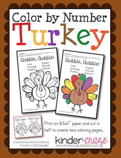 Get a FREE turkey color by number activity from Kinder Craze and check out Kinder Craze's other Thanksgiving-themed products to celebrate in your classroom!