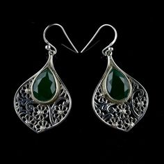 GIFT FOR ST. PATRICK'S DAY GREEN ONYX STONE HANDMADE EARRINGS 925STERLING SILVER #Unbranded