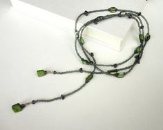 Lariat necklace in green and grey, by tline