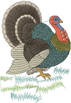 Colorful Turkey embroidery design  AnnTheGran.com