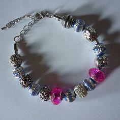 Bracelet charms argenté et rose / de 19 cm à 24.5 cm