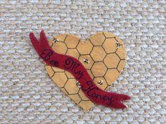 Wool applique PATTERN Vintage style Valentine by betsyloupatterns