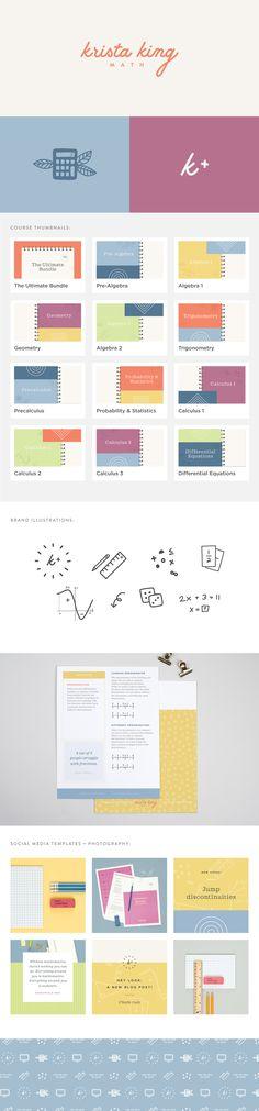 Krista King Math brand identity   Spruce Rd.   logo design, pattern design, online marketing, e-course design, branding, illustration, modern, worksheet design