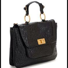 Rebecca Minkoff Black Croc Embossed Covet Bag