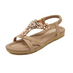 Jazlyn Women's Bohemian Flowers Rhinestones T Strap Casual Flat Sandals -- See this awesome image  : Sandals