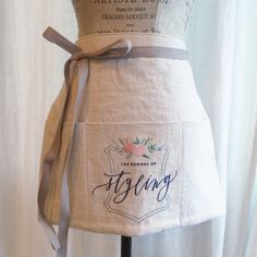 custom HALF apron vendor aprons custom by oatmeallacedesign Florist Logo, Half Apron, Aprons Vintage, Custom Embroidery, Sewing Projects, Fabric, How To Wear, Aisle Decorations, Clothes