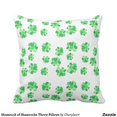 Shamrock of Shamrocks Throw Pillows - This shamrock design looks bright and festive, with various shades of green, on a white background. The design is printed on both sides. Each shamrock is made from a collage of shamrocks. This pillow is from #CherylsArt at Zazzle.