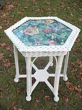 Rare Antique Hexagonal Wicker Table