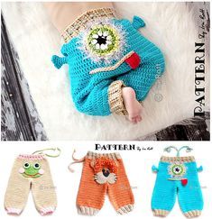 Frogs, Lions, Monsters, Owls, Cats  Dogs ! Crochet Hats, Pants  Crochet Patterns