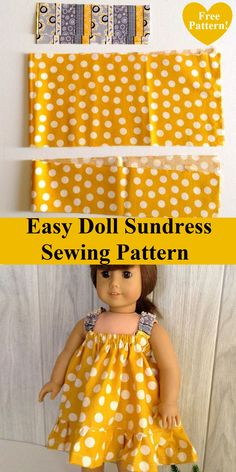 This is an easy sundress sewing pattern for your little girl's 18 Inch American doll. This pattern can be whipped up in less than an hour. Sewing Doll Clothes, Sewing Dolls, Girl Doll Clothes, Barbie Clothes, Girl Dolls, American Girl Outfits, American Doll Clothes, Baby Sewing, Free Sewing