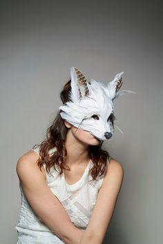 Bespoke Feather Fox Mask White Fox Mask Snow Fox door CuriousFair