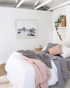 teenage girl room: Gorgeous styling of our Hayman blush throw from . You can't go wrong with soft greys blush and white. Dream Rooms, Dream Bedroom, Master Bedroom, Artwork For Bedroom, Girls Bedroom, Rose Bedroom, Bedroom Size, Woman Bedroom, Small Bedrooms