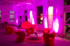 The Loopy range with the walls coloured Pink using Wall washer LED lighting. Valiant Hire furniture - for all your event requirements. www.valiant.com.au