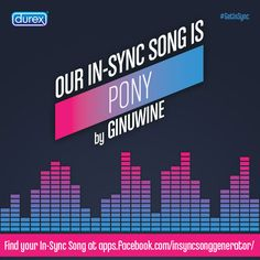 "#GetInSync The Durex Performax Intense In-Sync Song Generator placed my partner and me in the NICE & NAUGHTY couple category. Our ideal In-Sync Song is ""PONY"" by Ginuwine. Find out your in-sync couple #song."