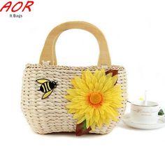 2016 Boho Floral Straw Weaving Ladies Summer Beach Bag Women Straw Handbag Rattan Small Bags Travel Casual Totes Cheap Lolita