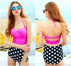 Cute Two Pieces Polka dots Design Bikini Set