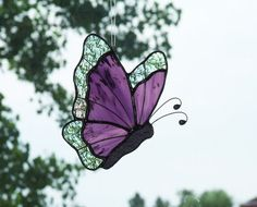 Stained Glass Purple and Clear Iridescent Butterfly Suncatcher