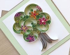 Excited to share this item from my shop: Quilling Spring Tree Card/ Summer card/ Handmade Card/ Quilled nursery card/ Congratulations card/ Quilling birthday card Arte Quilling, Paper Quilling Flowers, Paper Quilling Patterns, Origami And Quilling, Quilled Paper Art, Quilling Paper Craft, Quilling Jewelry, Paper Crafts, Card Crafts