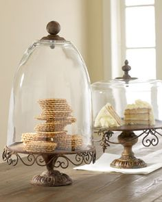 rustic cake stands and domes