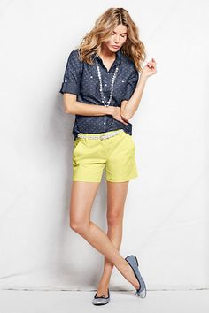 """#LandsEnd Looks to Love: Out and About- Pattern Chambray Shirt, 5"""" Chino Shorts & Striped Ballet Flats"""